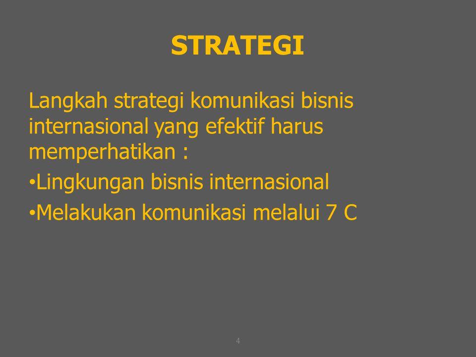4 STRATEGI Langkah strategi komunikasi bisnis internasional yang efektif harus memperhatikan : Lingkungan bisnis internasional Melakukan komunikasi me