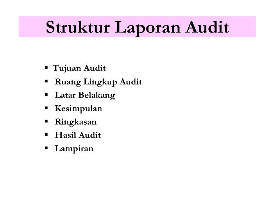 Format Laporan Audit Tergantung jenis laporan yang akan dikeluarkan -Formal vs tidak formal -Final vs interim -Bentuk tulisan vs lisan -Opini keseluru