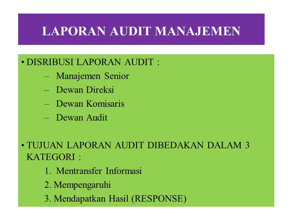 LAPORAN AUDIT MANAJEMEN LAPORAN AUDIT : Merupakan ringkasan hasil pekerjaan audit yang menginformasikan kelemahan-kelemahan yang penting bagi manajeme