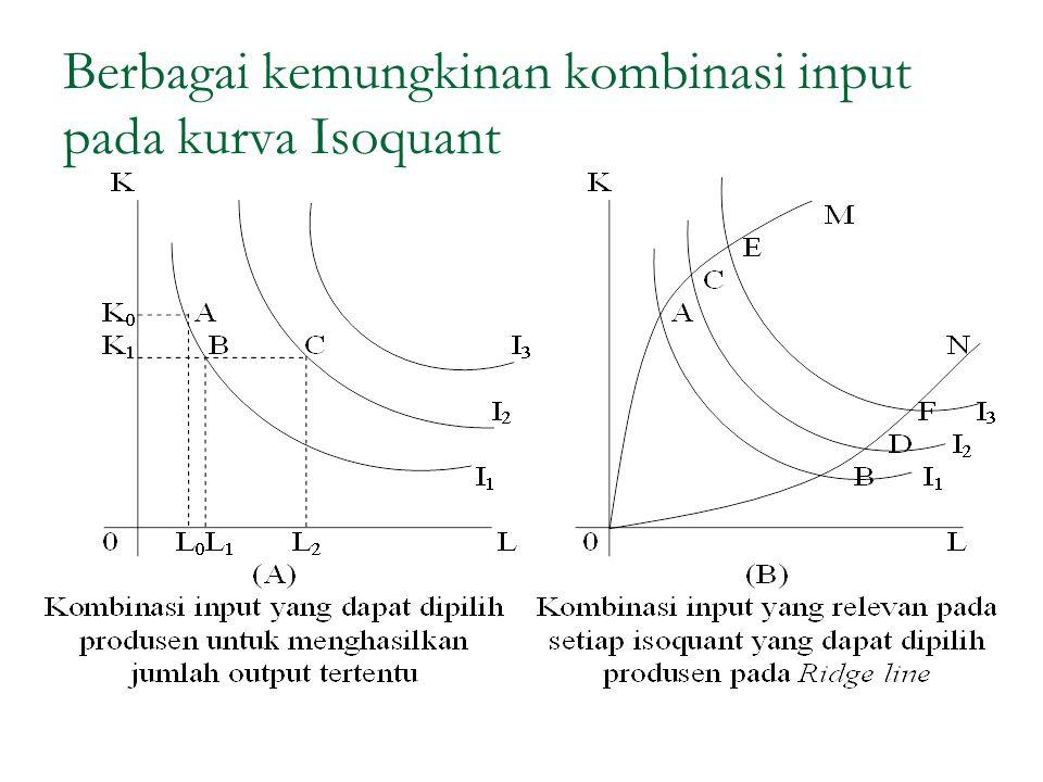 Berbagai kemungkinan kombinasi input pada kurva Isoquant