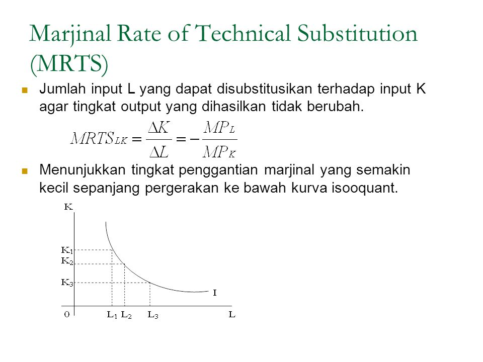 Marjinal Rate of Technical Substitution (MRTS) Jumlah input L yang dapat disubstitusikan terhadap input K agar tingkat output yang dihasilkan tidak berubah.