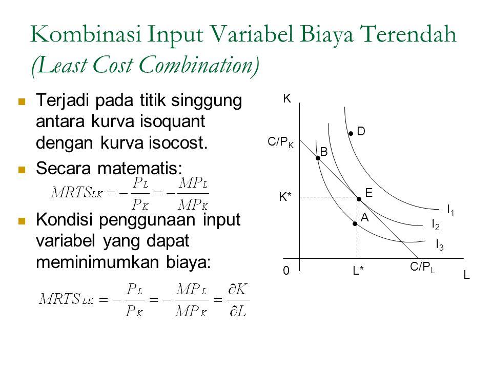 Kombinasi Input Variabel Biaya Terendah (Least Cost Combination) Terjadi pada titik singgung antara kurva isoquant dengan kurva isocost. Secara matema