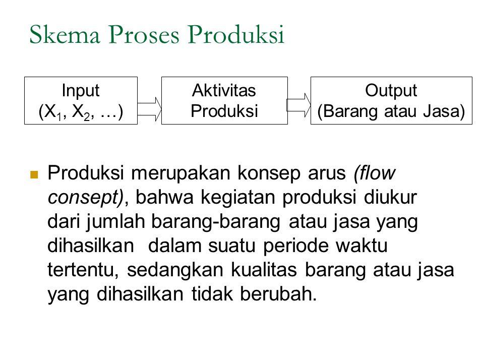 Skema Proses Produksi Input (X 1, X 2, …) Aktivitas Produksi Output (Barang atau Jasa) Produksi merupakan konsep arus (flow consept), bahwa kegiatan p