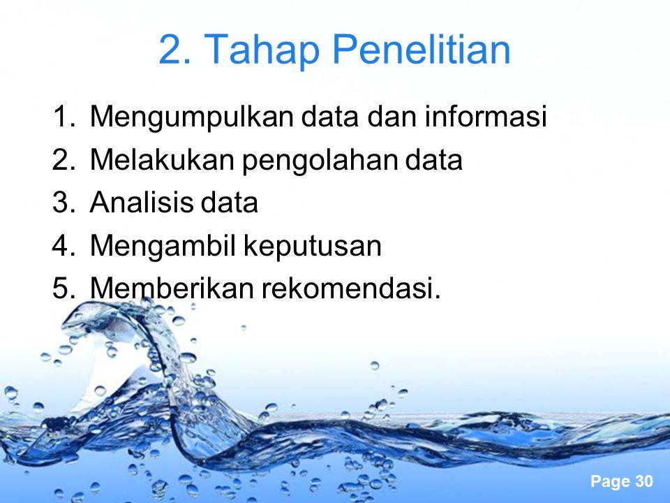 Page 30 2. Tahap Penelitian 1.Mengumpulkan data dan informasi 2.Melakukan pengolahan data 3.Analisis data 4.Mengambil keputusan 5.Memberikan rekomenda