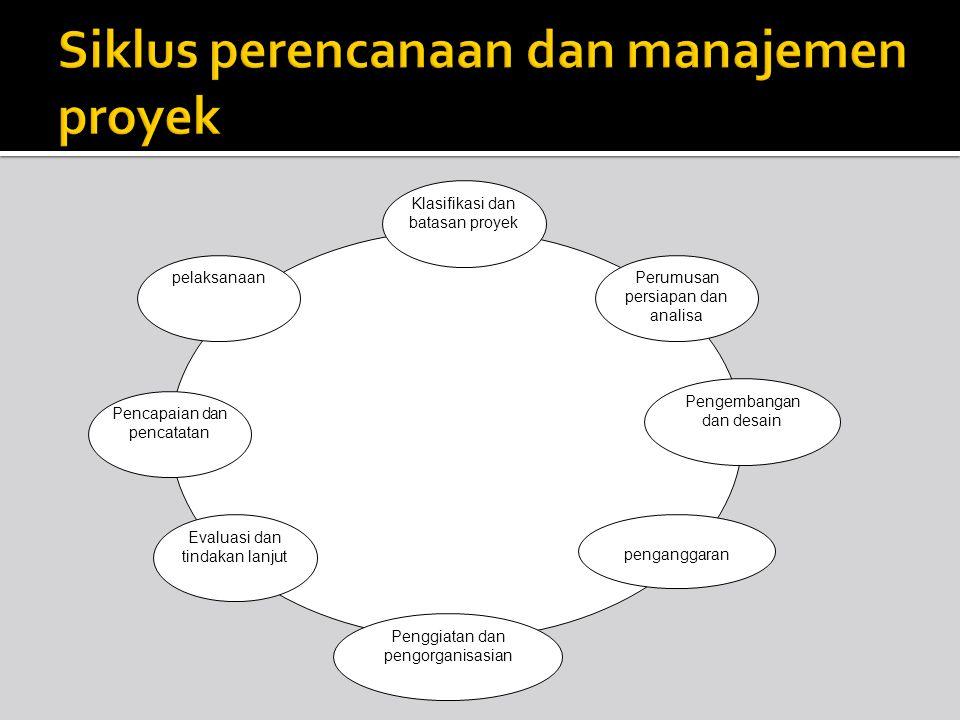 Klasifikasi dan batasan proyek Perumusan persiapan dan analisa Pengembangan dan desain penganggaran Penggiatan dan pengorganisasian Evaluasi dan tinda