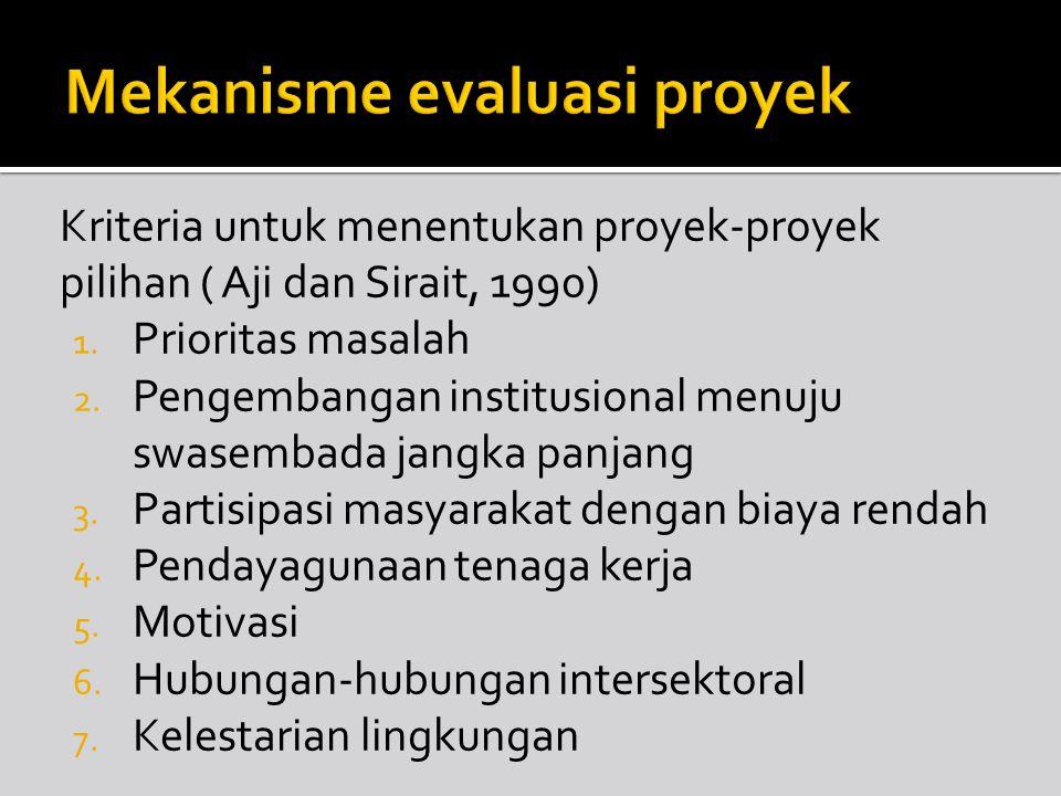 Kriteria untuk menentukan proyek-proyek pilihan ( Aji dan Sirait, 1990) 1. Prioritas masalah 2. Pengembangan institusional menuju swasembada jangka pa