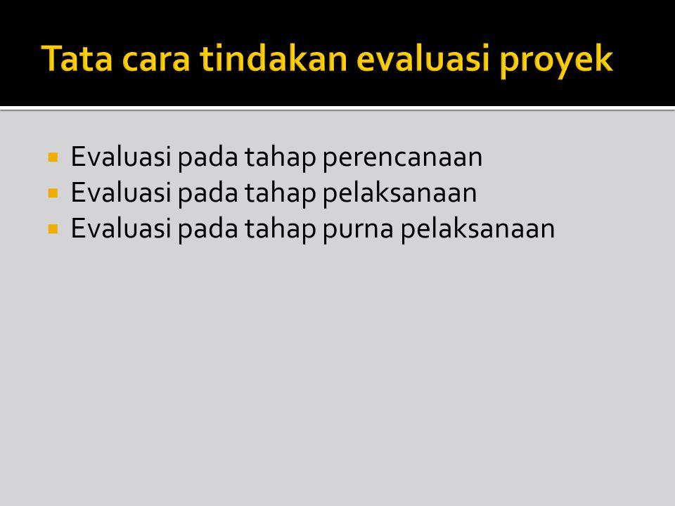  Evaluasi pada tahap perencanaan  Evaluasi pada tahap pelaksanaan  Evaluasi pada tahap purna pelaksanaan