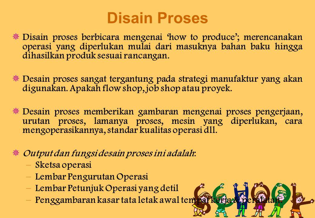 Disain Proses  Disain proses berbicara mengenai 'how to produce'; merencanakan operasi yang diperlukan mulai dari masuknya bahan baku hingga dihasilkan produk sesuai rancangan.