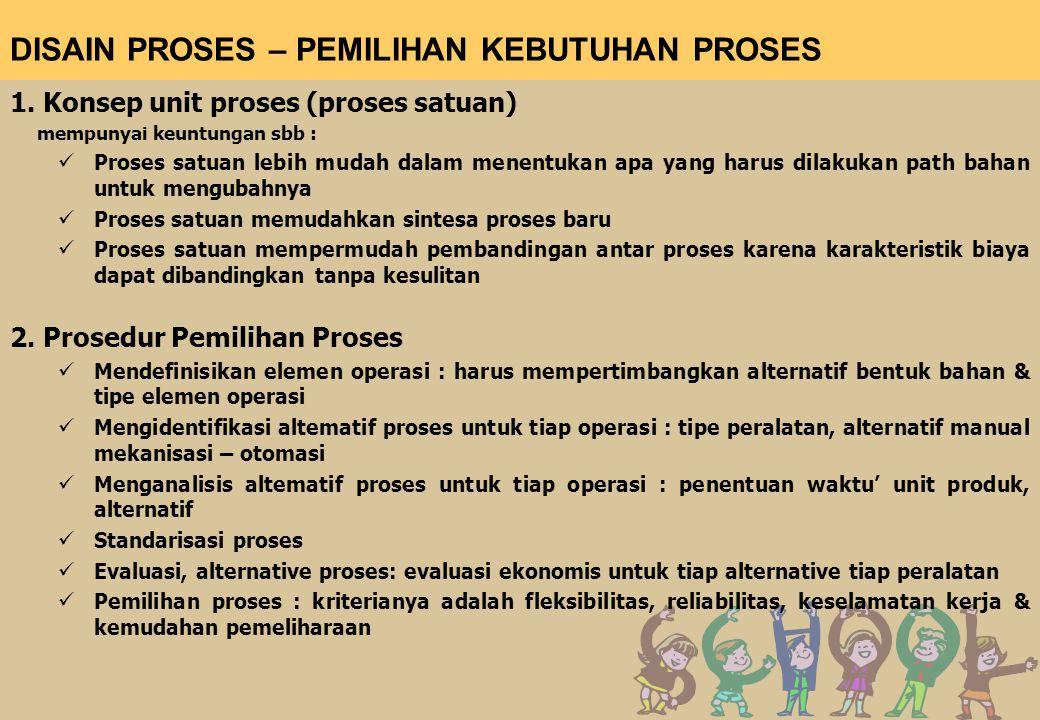 DISAIN PROSES – PEMILIHAN KEBUTUHAN PROSES 1. Konsep unit proses (proses satuan) mempunyai keuntungan sbb : Proses satuan lebih mudah dalam menentukan