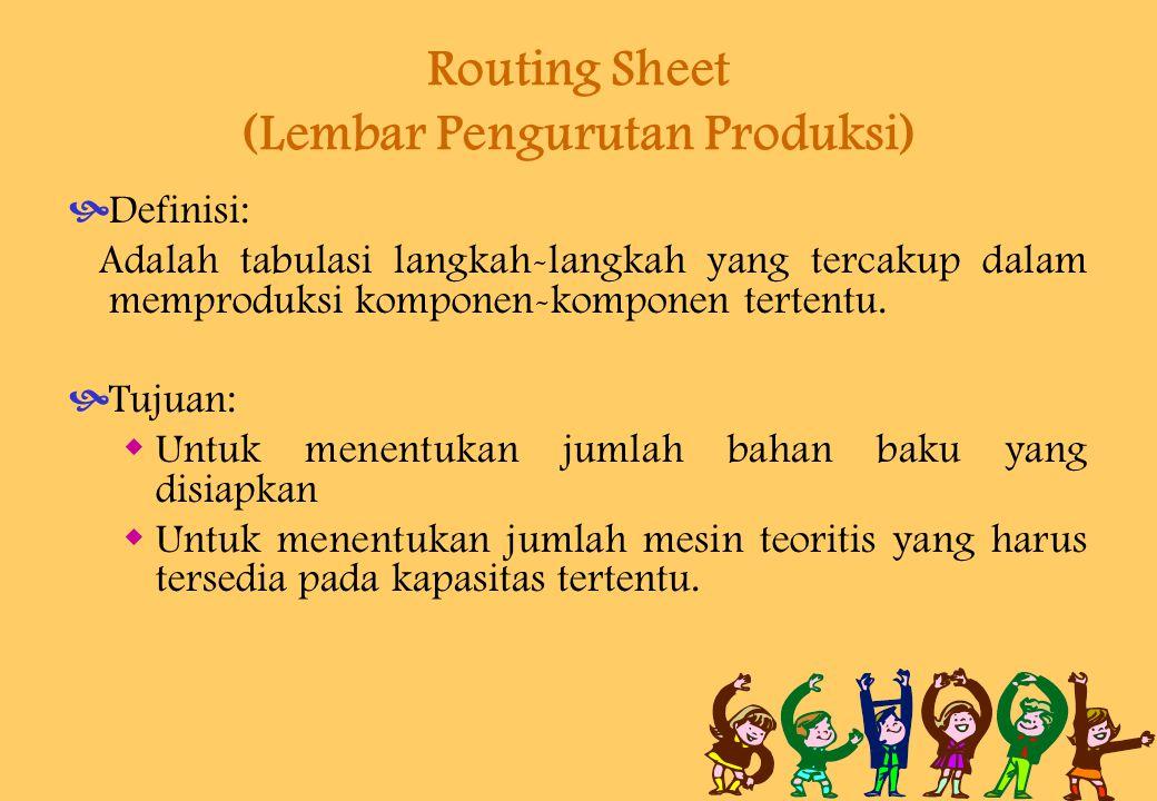 Routing Sheet (Lembar Pengurutan Produksi)  Definisi: Adalah tabulasi langkah-langkah yang tercakup dalam memproduksi komponen-komponen tertentu.  T