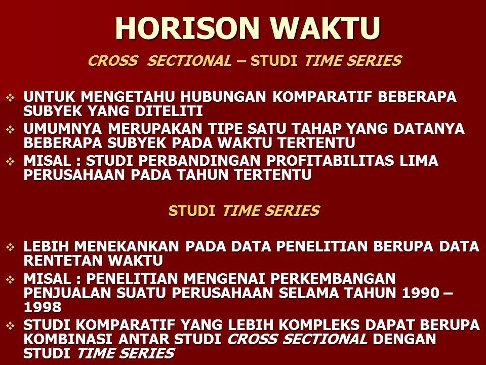 HORISON WAKTU CROSS SECTIONAL – STUDI TIME SERIES  UNTUK MENGETAHU HUBUNGAN KOMPARATIF BEBERAPA SUBYEK YANG DITELITI  UMUMNYA MERUPAKAN TIPE SATU TA