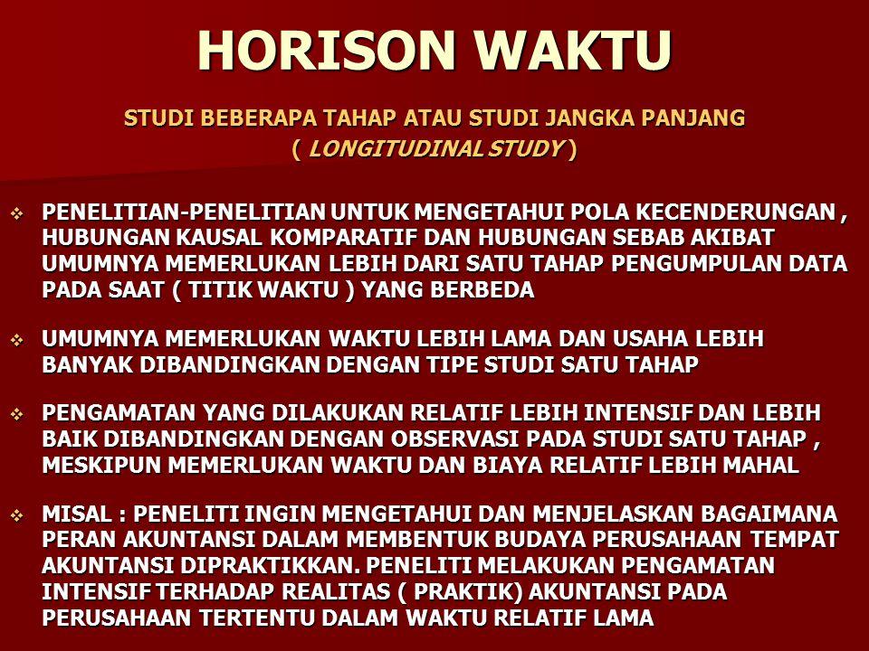 HORISON WAKTU STUDI BEBERAPA TAHAP ATAU STUDI JANGKA PANJANG ( LONGITUDINAL STUDY )  PENELITIAN-PENELITIAN UNTUK MENGETAHUI POLA KECENDERUNGAN, HUBUN