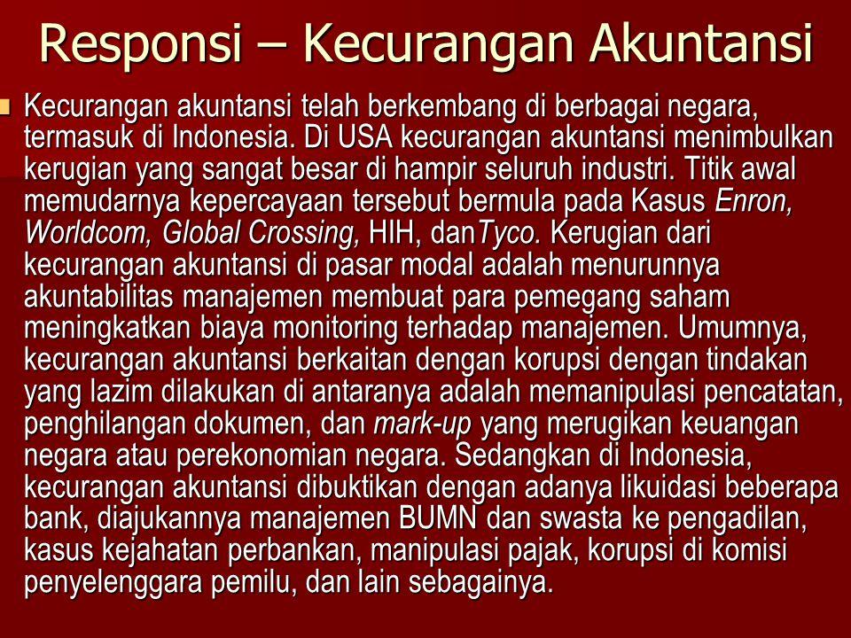 Responsi – Kecurangan Akuntansi Kecurangan akuntansi telah berkembang di berbagai negara, termasuk di Indonesia. Di USA kecurangan akuntansi menimbulk
