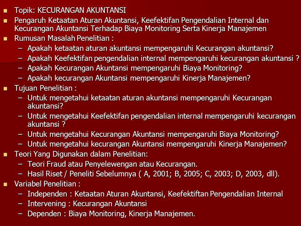 Topik: KECURANGAN AKUNTANSI Topik: KECURANGAN AKUNTANSI Pengaruh Ketaatan Aturan Akuntansi, Keefektifan Pengendalian Internal dan Kecurangan Akuntansi