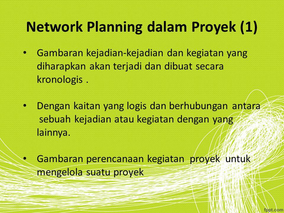 Network Planning dalam Proyek (1) Gambaran kejadian-kejadian dan kegiatan yang diharapkan akan terjadi dan dibuat secara kronologis. Dengan kaitan yan