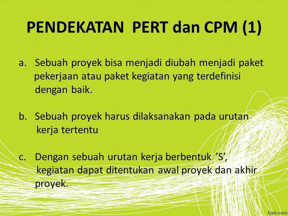 PENDEKATAN PERT dan CPM (1) a.Sebuah proyek bisa menjadi diubah menjadi paket pekerjaan atau paket kegiatan yang terdefinisi dengan baik. b.Sebuah pro