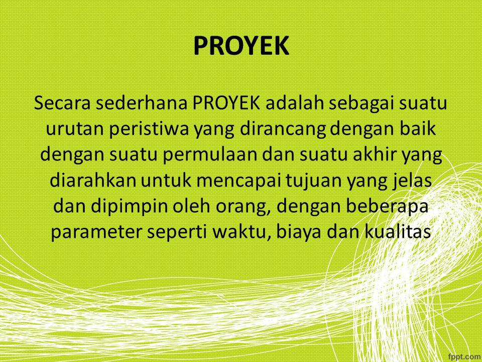PROYEK Secara sederhana PROYEK adalah sebagai suatu urutan peristiwa yang dirancang dengan baik dengan suatu permulaan dan suatu akhir yang diarahkan