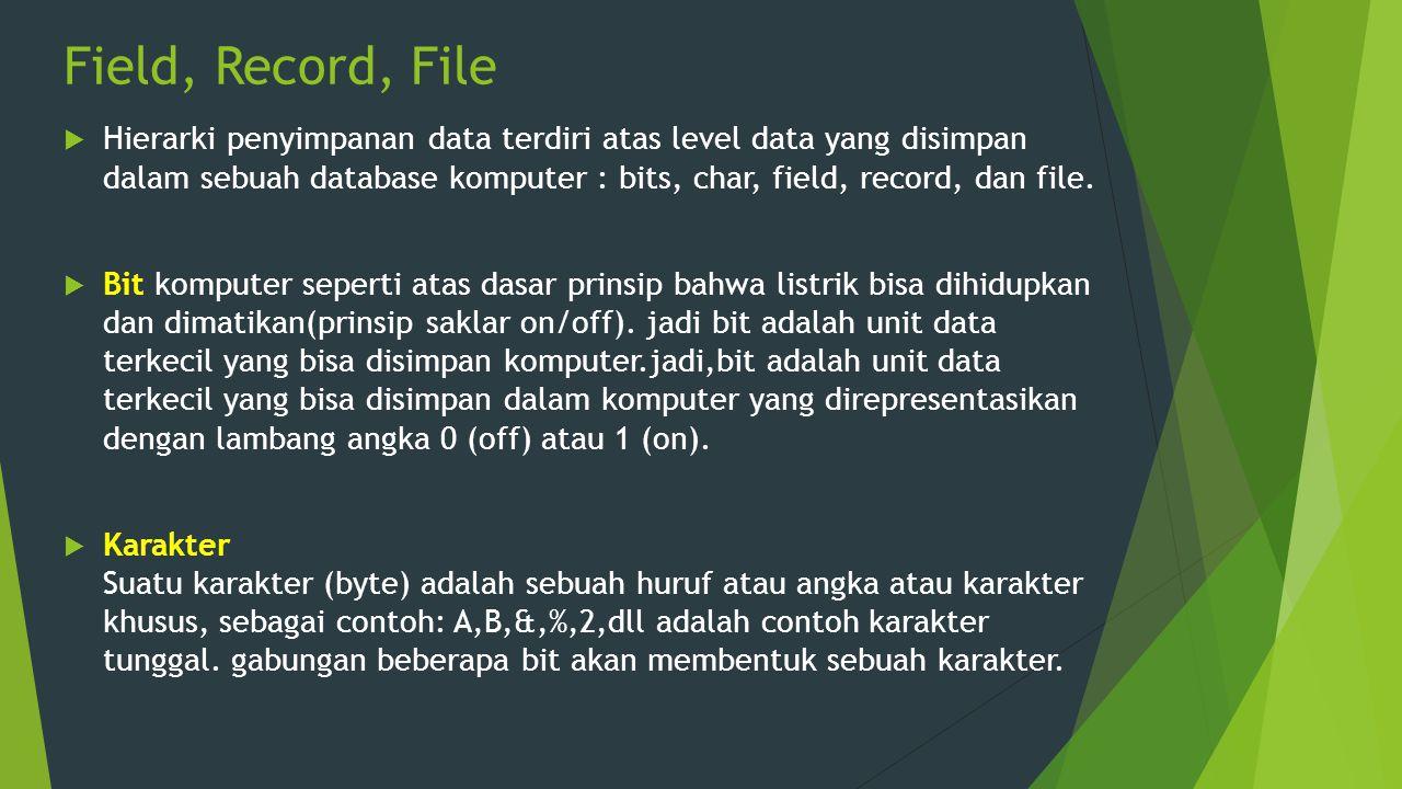 Field, Record, File  Hierarki penyimpanan data terdiri atas level data yang disimpan dalam sebuah database komputer : bits, char, field, record, dan