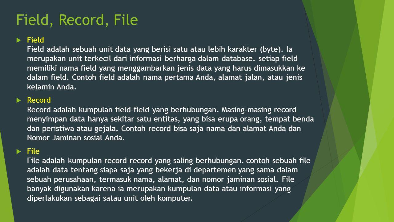 Field, Record, File  Field Field adalah sebuah unit data yang berisi satu atau lebih karakter (byte). Ia merupakan unit terkecil dari informasi berha