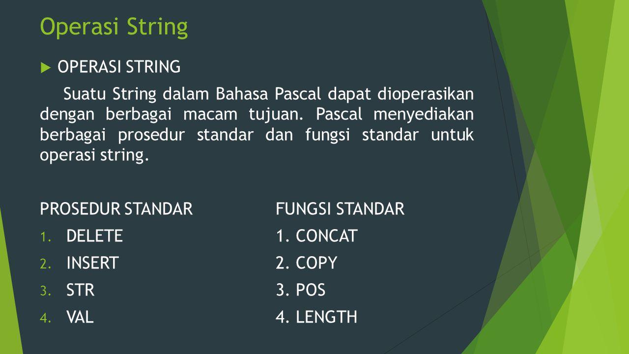 Operasi String  OPERASI STRING Suatu String dalam Bahasa Pascal dapat dioperasikan dengan berbagai macam tujuan. Pascal menyediakan berbagai prosedur