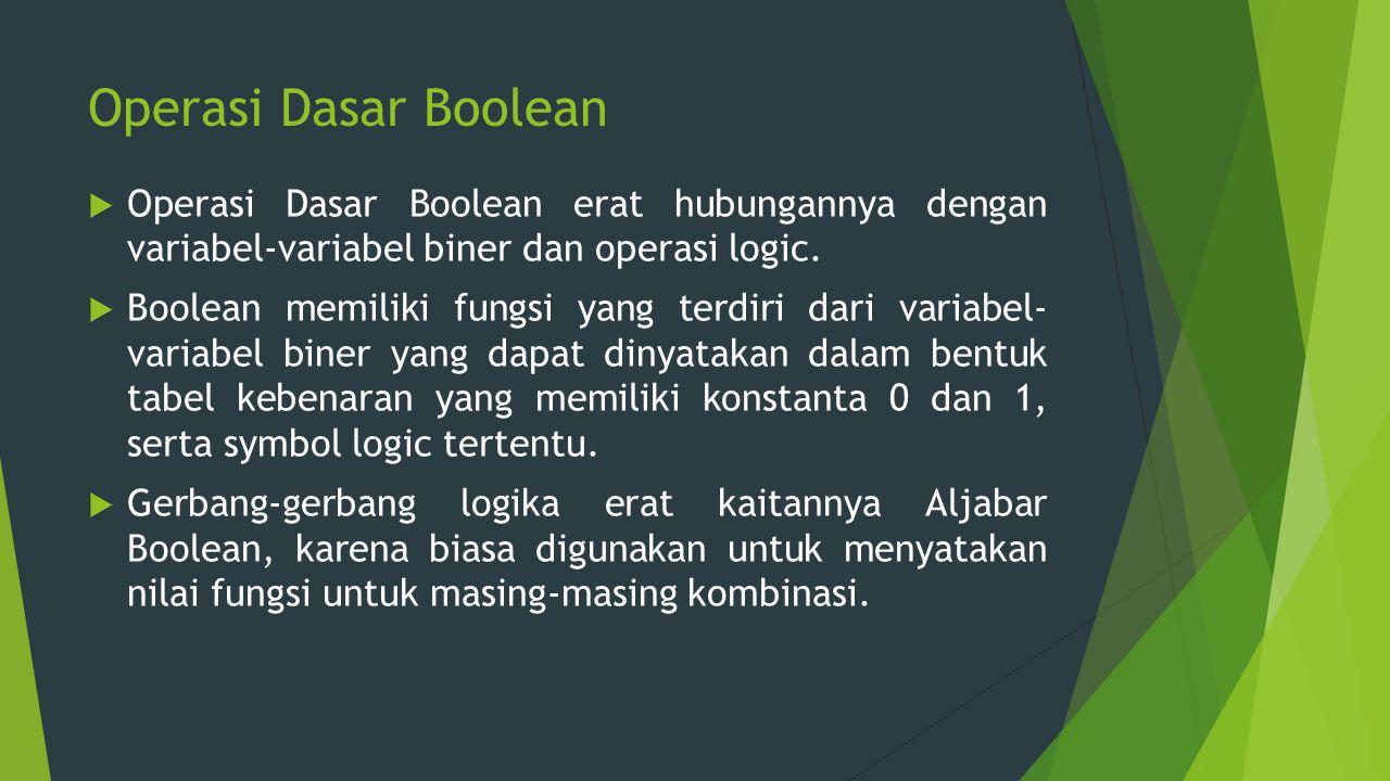 Operasi Dasar Boolean  Operasi Dasar Boolean erat hubungannya dengan variabel-variabel biner dan operasi logic.  Boolean memiliki fungsi yang terdir
