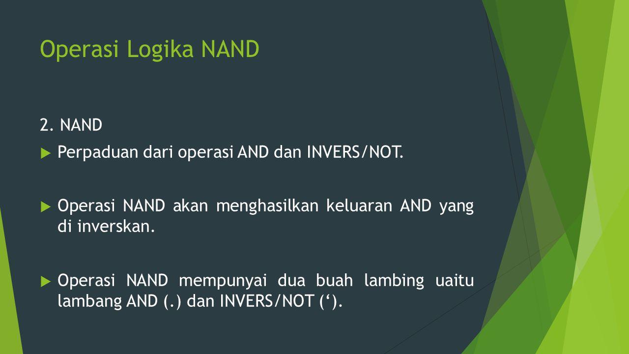 Operasi Logika NAND 2. NAND  Perpaduan dari operasi AND dan INVERS/NOT.  Operasi NAND akan menghasilkan keluaran AND yang di inverskan.  Operasi NA