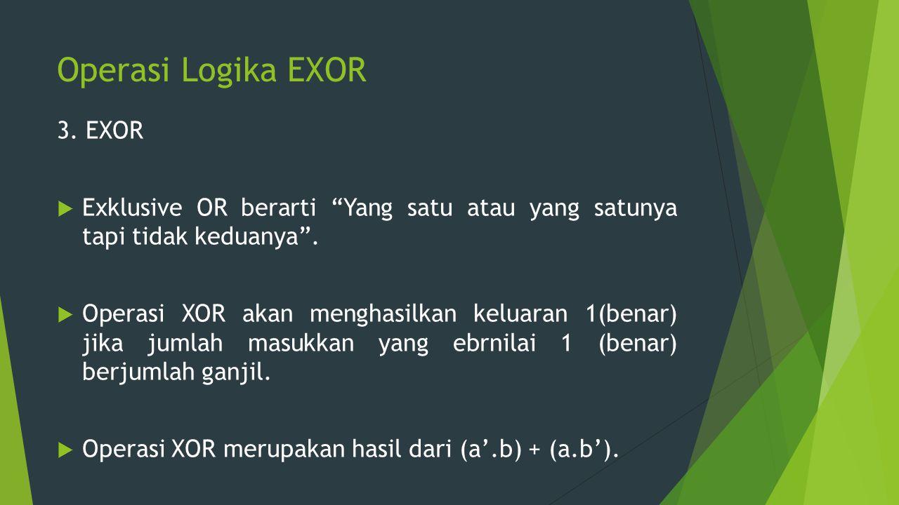 """Operasi Logika EXOR 3. EXOR  Exklusive OR berarti """"Yang satu atau yang satunya tapi tidak keduanya"""".  Operasi XOR akan menghasilkan keluaran 1(benar"""