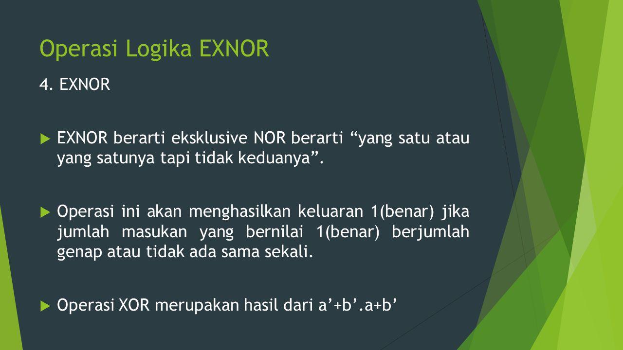 """Operasi Logika EXNOR 4. EXNOR  EXNOR berarti eksklusive NOR berarti """"yang satu atau yang satunya tapi tidak keduanya"""".  Operasi ini akan menghasilka"""