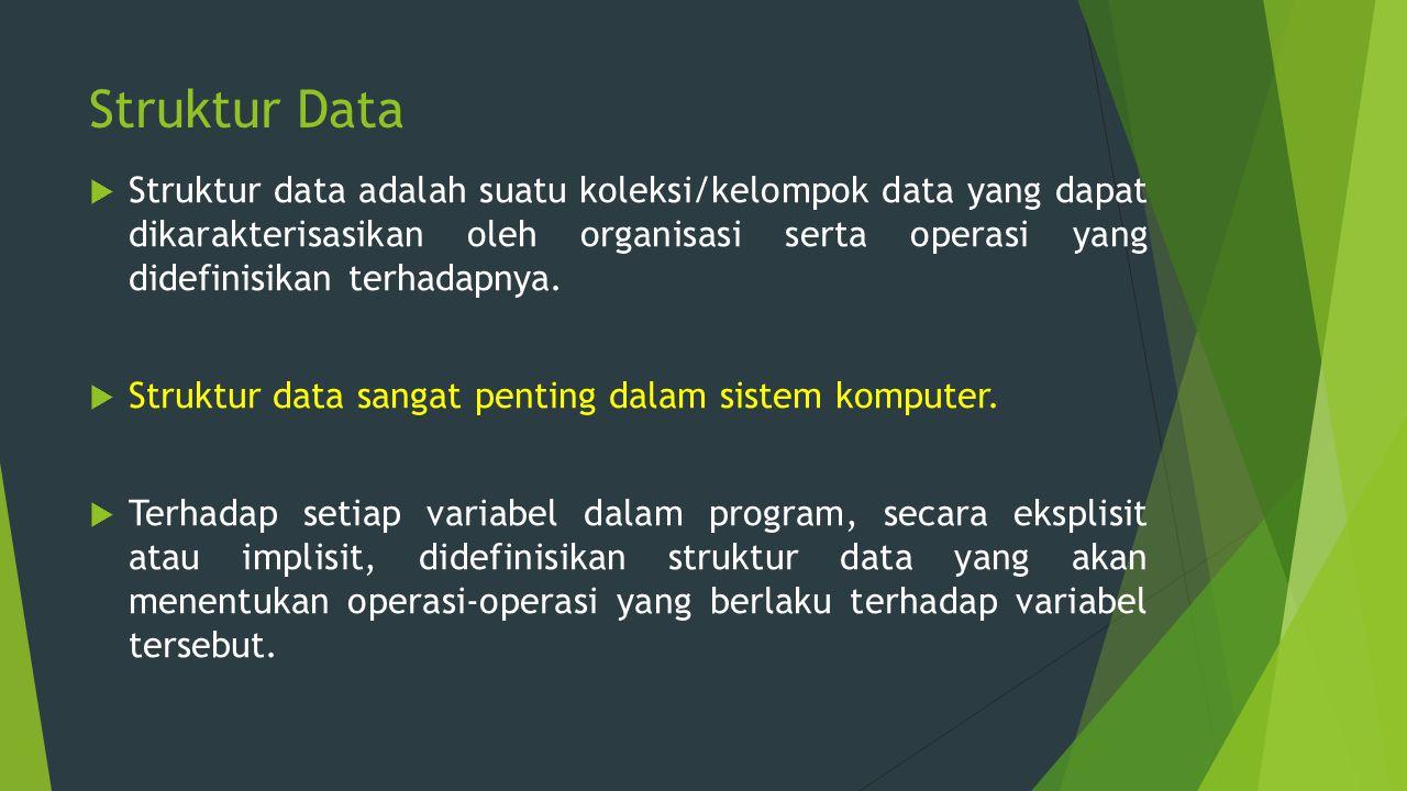 Struktur Data  Struktur data adalah suatu koleksi/kelompok data yang dapat dikarakterisasikan oleh organisasi serta operasi yang didefinisikan terhad