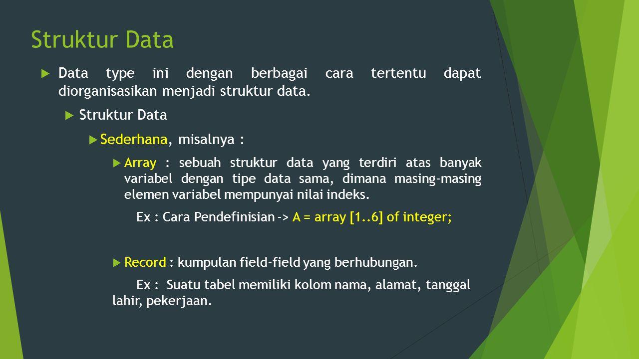Struktur Data  Data type ini dengan berbagai cara tertentu dapat diorganisasikan menjadi struktur data.  Struktur Data  Sederhana, misalnya :  Arr