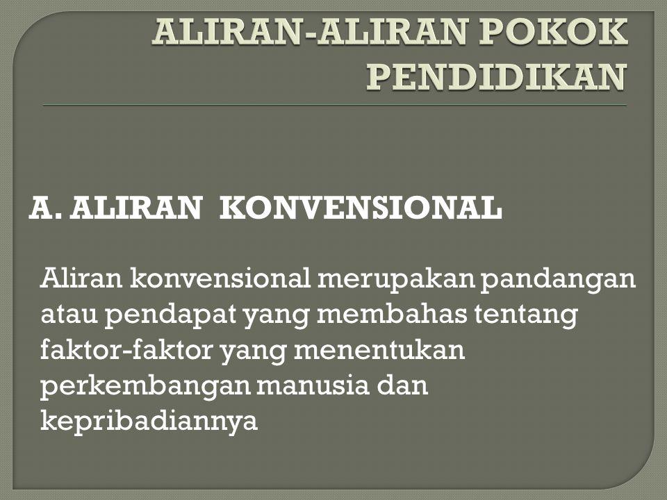 A. ALIRAN KONVENSIONAL Aliran konvensional merupakan pandangan atau pendapat yang membahas tentang faktor-faktor yang menentukan perkembangan manusia