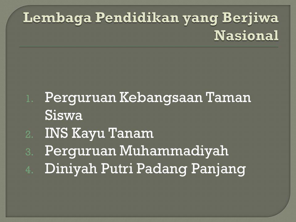 1. Perguruan Kebangsaan Taman Siswa 2. INS Kayu Tanam 3. Perguruan Muhammadiyah 4. Diniyah Putri Padang Panjang
