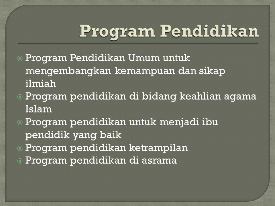  Program Pendidikan Umum untuk mengembangkan kemampuan dan sikap ilmiah  Program pendidikan di bidang keahlian agama Islam  Program pendidikan untu