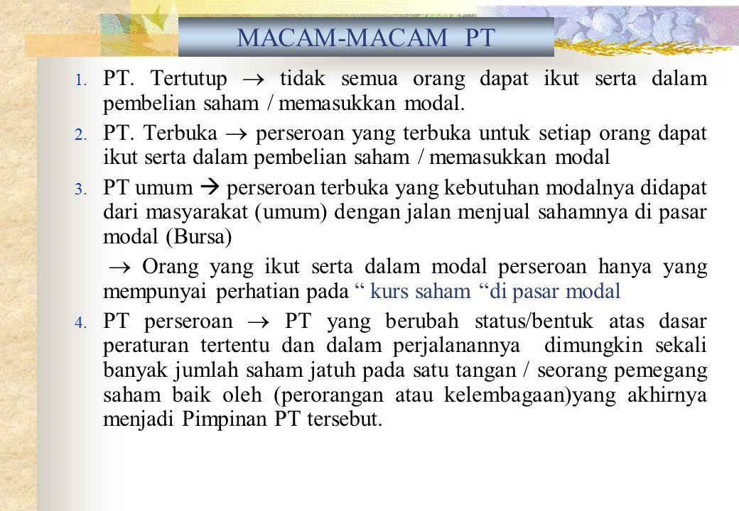 - PT dapat membuka cabang didaerah lain diseluruh Indonesia - Kedudukan kantor pusat wajib dicantumkan keberadaannya - Kantor cabang tunduk pada segal