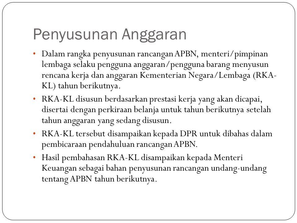 Penyusunan Anggaran Dalam rangka penyusunan rancangan APBN, menteri/pimpinan lembaga selaku pengguna anggaran/pengguna barang menyusun rencana kerja dan anggaran Kementerian Negara/Lembaga (RKA- KL) tahun berikutnya.