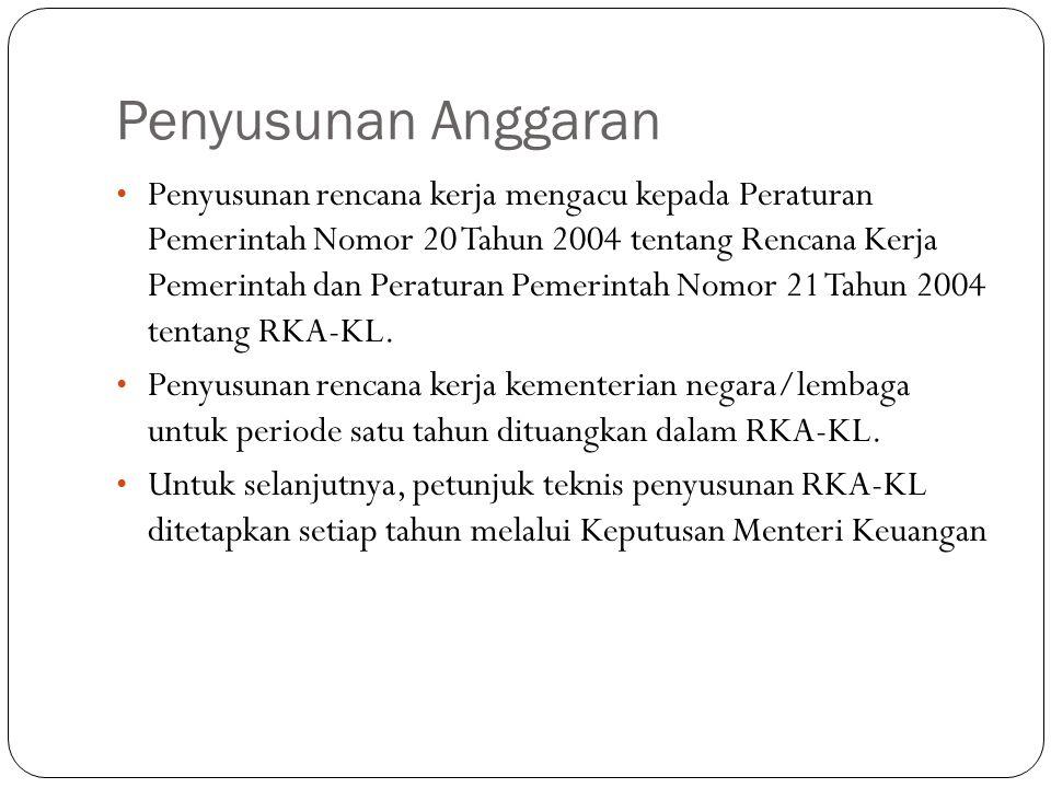 Penyusunan Anggaran Penyusunan rencana kerja mengacu kepada Peraturan Pemerintah Nomor 20 Tahun 2004 tentang Rencana Kerja Pemerintah dan Peraturan Pemerintah Nomor 21 Tahun 2004 tentang RKA-KL.