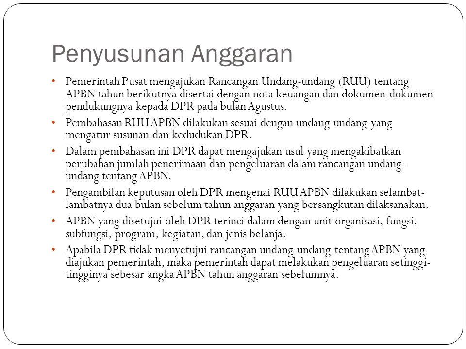Penyusunan Anggaran Pemerintah Pusat mengajukan Rancangan Undang-undang (RUU) tentang APBN tahun berikutnya disertai dengan nota keuangan dan dokumen-dokumen pendukungnya kepada DPR pada bulan Agustus.