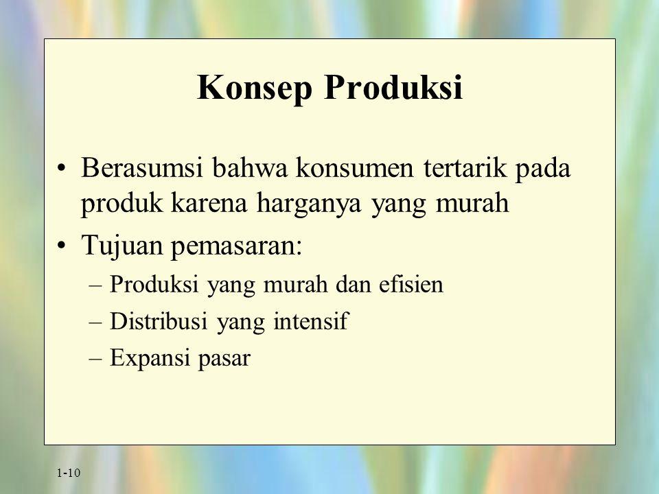 1-10 Konsep Produksi Berasumsi bahwa konsumen tertarik pada produk karena harganya yang murah Tujuan pemasaran: –Produksi yang murah dan efisien –Distribusi yang intensif –Expansi pasar