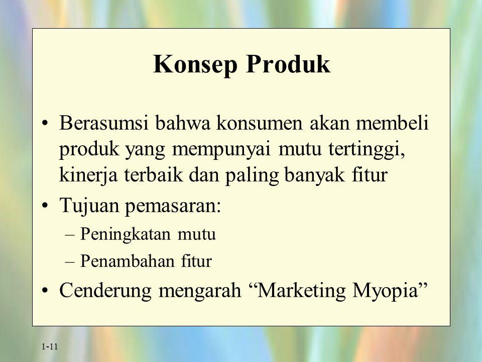 1-11 Konsep Produk Berasumsi bahwa konsumen akan membeli produk yang mempunyai mutu tertinggi, kinerja terbaik dan paling banyak fitur Tujuan pemasaran: –Peningkatan mutu –Penambahan fitur Cenderung mengarah Marketing Myopia