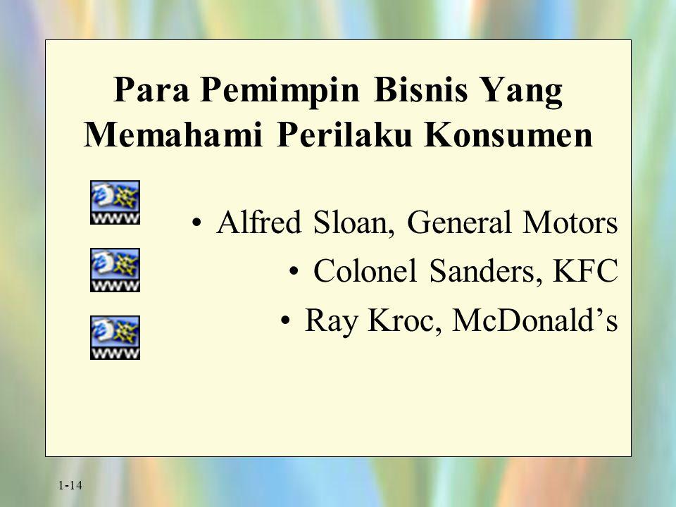 1-14 Para Pemimpin Bisnis Yang Memahami Perilaku Konsumen Alfred Sloan, General Motors Colonel Sanders, KFC Ray Kroc, McDonald's