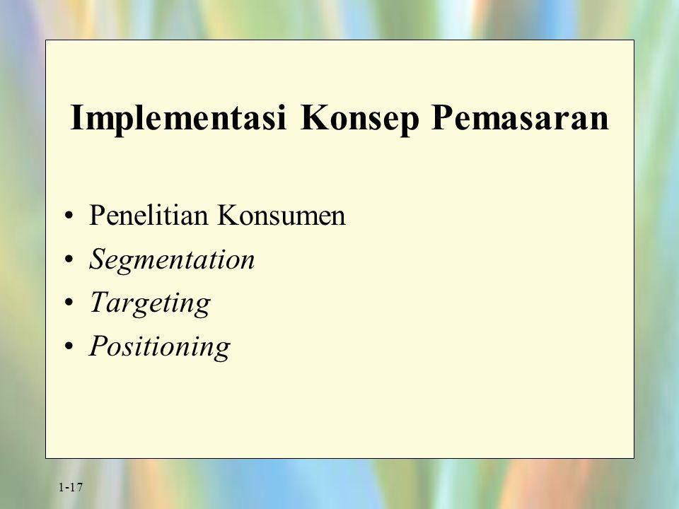 1-17 Implementasi Konsep Pemasaran Penelitian Konsumen Segmentation Targeting Positioning