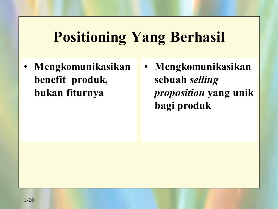 1-20 Positioning Yang Berhasil Mengkomunikasikan benefit produk, bukan fiturnya Mengkomunikasikan sebuah selling proposition yang unik bagi produk