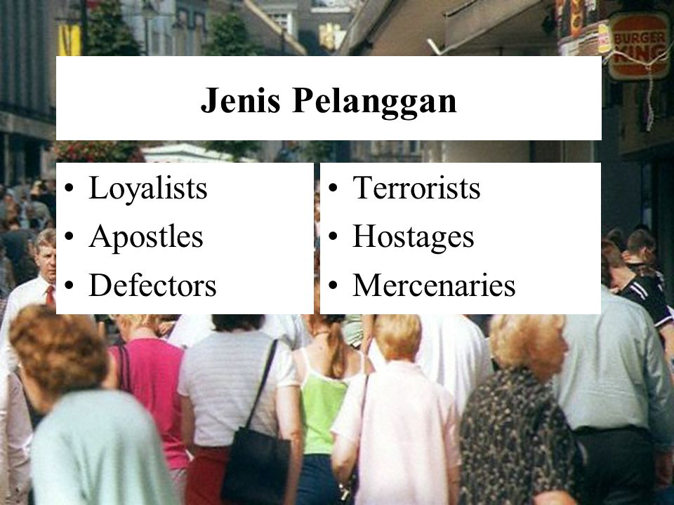 1-25 Jenis Pelanggan Loyalists Apostles Defectors Terrorists Hostages Mercenaries