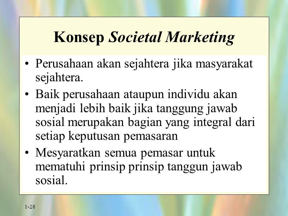 1-28 Konsep Societal Marketing Perusahaan akan sejahtera jika masyarakat sejahtera. Baik perusahaan ataupun individu akan menjadi lebih baik jika tang
