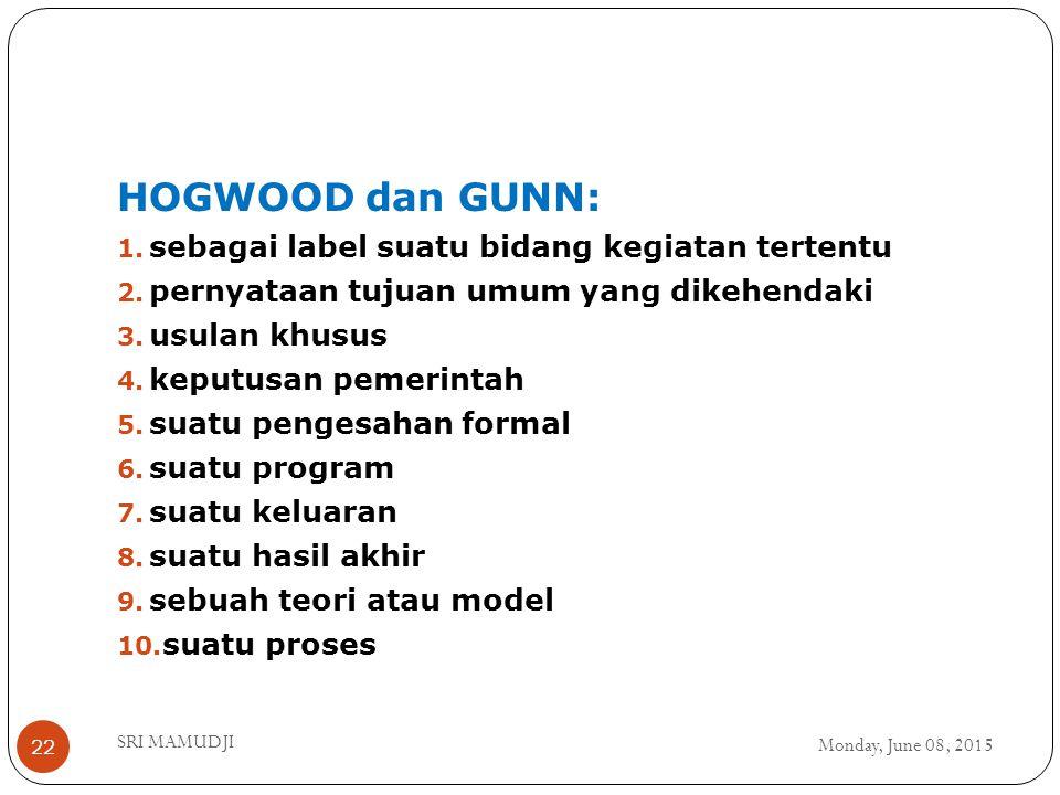 Monday, June 08, 2015 SRI MAMUDJI 22 HOGWOOD dan GUNN: 1.