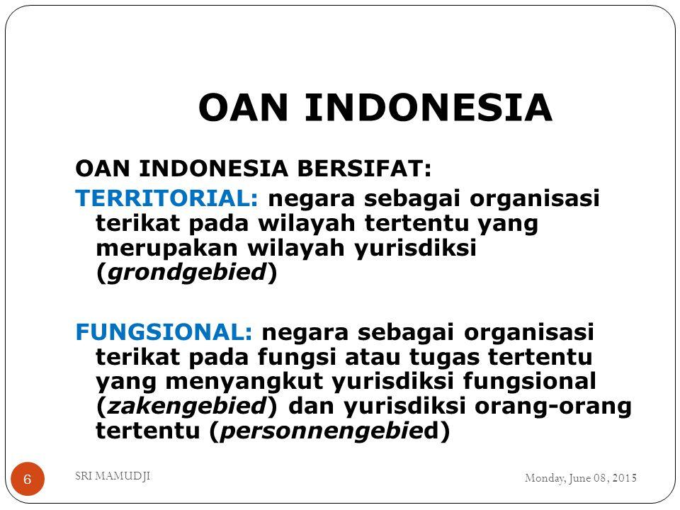 OAN INDONESIA Monday, June 08, 2015 SRI MAMUDJI 6 OAN INDONESIA BERSIFAT: TERRITORIAL: negara sebagai organisasi terikat pada wilayah tertentu yang me