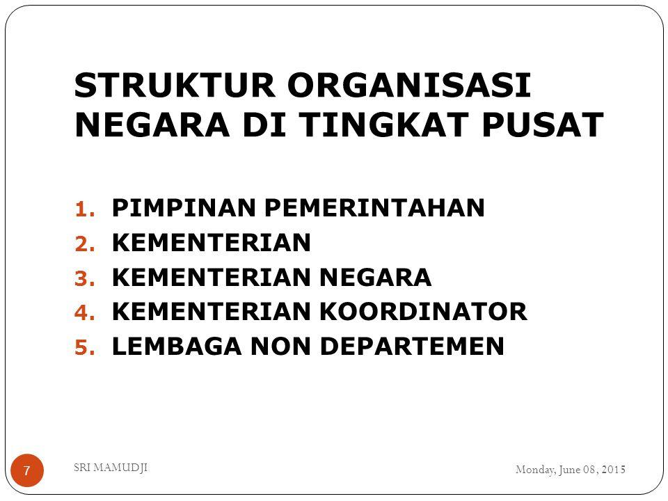 STRUKTUR ORGANISASI NEGARA DI TINGKAT PUSAT Monday, June 08, 2015 SRI MAMUDJI 7 1. PIMPINAN PEMERINTAHAN 2. KEMENTERIAN 3. KEMENTERIAN NEGARA 4. KEMEN