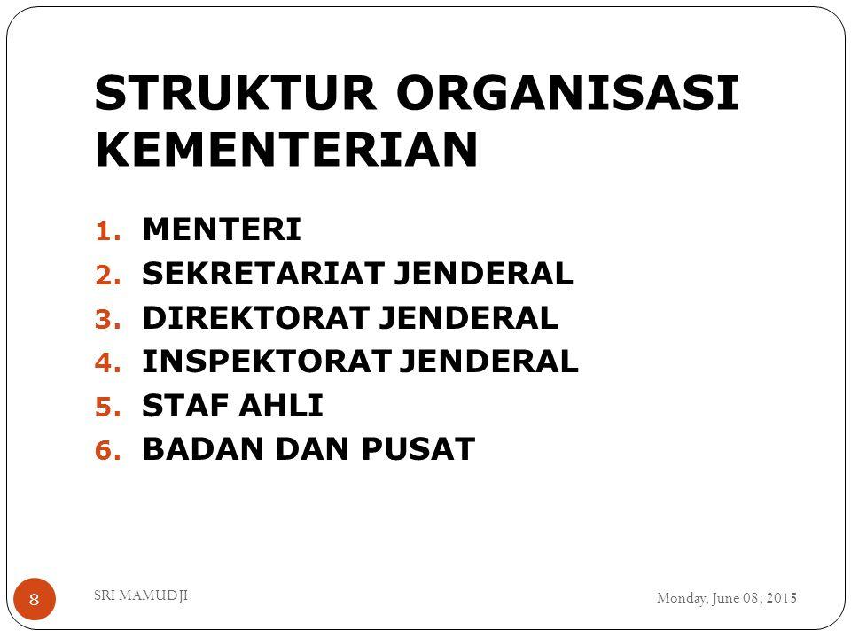 STRUKTUR ORGANISASI KEMENTERIAN Monday, June 08, 2015 SRI MAMUDJI 8 1. MENTERI 2. SEKRETARIAT JENDERAL 3. DIREKTORAT JENDERAL 4. INSPEKTORAT JENDERAL