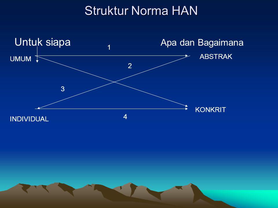 Struktur Norma HAN Untuk siapa Apa dan Bagaimana UMUM ABSTRAK INDIVIDUAL KONKRIT 1 2 3 4