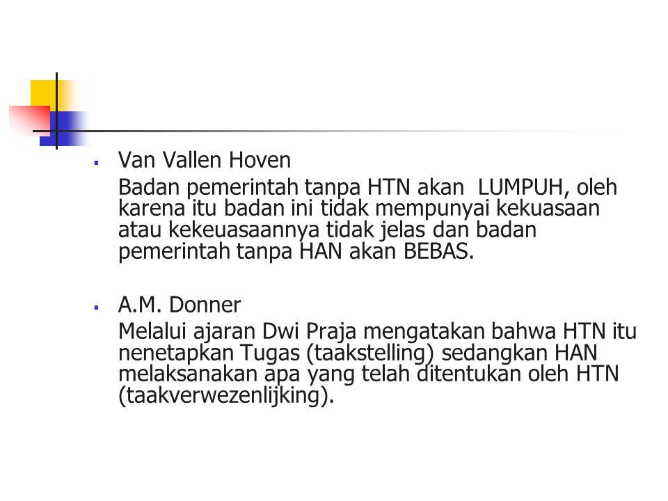  Van Vallen Hoven Badan pemerintah tanpa HTN akan LUMPUH, oleh karena itu badan ini tidak mempunyai kekuasaan atau kekeuasaannya tidak jelas dan badan pemerintah tanpa HAN akan BEBAS.